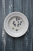 Blueberries on a grey enamel plate