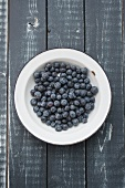 Blueberries in an enamel bowl