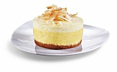 Mango Citrus Cheesecake with Toasted Coconut; White Background