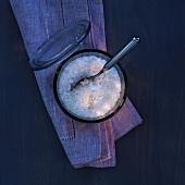 Sea salt in a glass dish