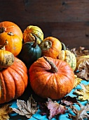 Various pumpkins with autumnal leaves