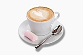 A cappuccino with a marshmallow