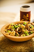 Bowl of Brown Rice with Edamame and Sliced Mushrooms
