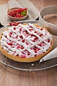 Redcurrant tart with meringue lattice