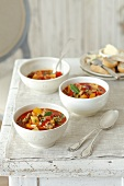 Duck soup with pepper, tomatoes and thyme