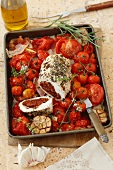 Stuffed turkey breast with dried tomatoes and oven-roasted tomatoes
