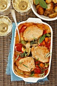 Pork escalopes with vegetables and roast potatoes