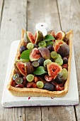 A plum, grape and fig tart