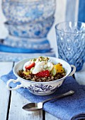 Quinoa breakfast salad with orange blossom water and honey dressing