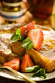 French Toast with Maple Syrup and Strawberries