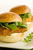 Battered and Fried Tofu Sandwiches with Arugula and Mayo