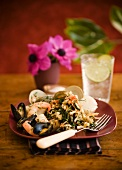 Serving of Seafood Salad with a Fork