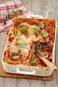 Cannelloni mit Spinat und Ricotta in Tomaten- und Bechamelsauce