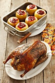 Roast duck with apples and cranberries