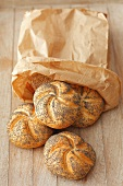 Poppy seed rolls in a paper bag