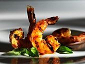 Grilled prawns with Thai basil