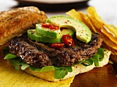 A Hickory Jack Burger with avocado