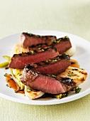 Grilled, sliced ribeye steak