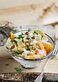 Pasta with golden turnip and a creamy cheese sauce
