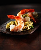 Cooked prawns with tagliatelle