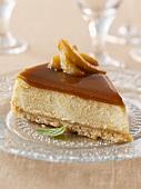 A slice of caramel cheesecake