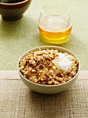 Honey and almond muesli with yoghurt