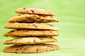 A stack of homemade chocolate chip cookies