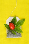 A rose hip tea bag and a rose hip