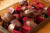 Beets Prepared for Roasting with Thyme