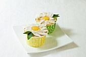 Vegan Gluten Free Vanilla Cupcakes with Frosting Flower