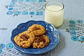 Vegan Gluten Free Toffee Pecan Chewies with a Glass of Milk