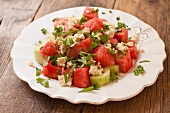 Vegan Salad of Watermelon, Cucumber and Tofu Feta