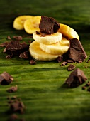 Sliced banana and chocolate pieces