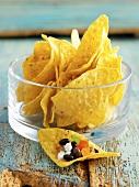 Tortilla chips with a bean salsa