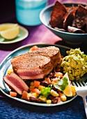 Coriander Crusted Tuna with Black Bean and Corn Salsa; Guacamole