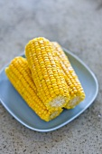 Three corn cobs on a light-blue plate