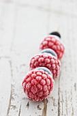 A frozen berry kebab