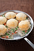 Chicken Pot Pie with Biscuit Topping; Cooked in a Skillet