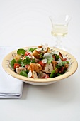 Bowl of Chicken and Bread Salad