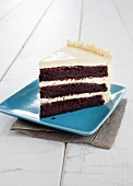 Three Layered Devils Food Cake with Vanilla Frosting