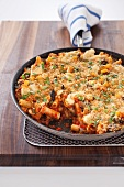 Eggplant Parmesan Ziti Bake in a Skillet