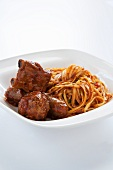 Spaghetti with Tomato Sauce, Meatballs and Sausage