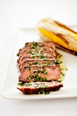 Sliced Grilled Argentinian Steak with Herb Sauce