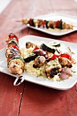 Grilled Chicken and Vegetable Kabobs with Couscous