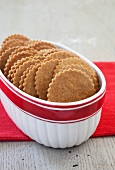 Moravian Spice Cookies in an Oval Bowl