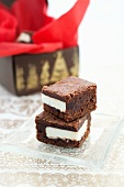 Two Peppermint Surprise Brownies; Stacked