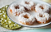 Coconut Doughnuts on a Plate