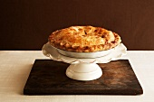 Whole Apple Pie on a Pedestal Dish