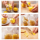 Salted lemons being prepared