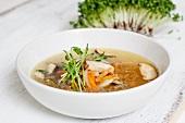 Broth with shiitake mushrooms
